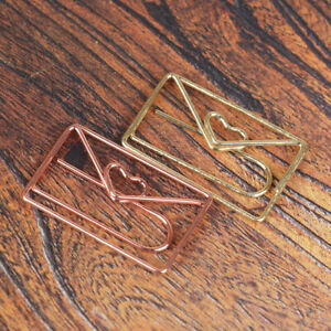 10pcs Metal Love Paper Clip Creative Special shaped Modeling Office Accessor us
