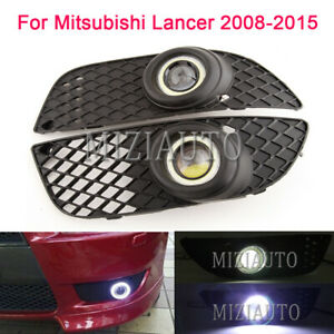 2 Led Angel Ring Fog Light For Mitsubishi Lancer Ex 2008 2015 Bumper Grill Lamp