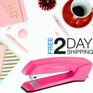 3 In 1 Stapler Pink Full Size Antimicrobial Ergonomic Lightweight 20 Sheets