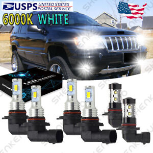 For Jeep Grand Cherokee 1999 2004 Led Headlight Bulbs Hi Low Beam Fog Lights Yh