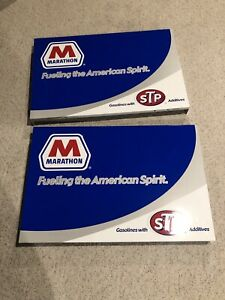 Vintage Marathon Stp Motor Oil Gas Pump Door Skins Signs New Nos