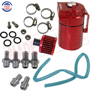 Red Aluminum Engine Cylinder Oil Catch Reservoir Breather Can Tank Filter Kit