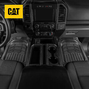 Cat 3pc All Weather Truck Floor Mats Liner Set Flex Tough Rubber Deep Channe