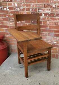 Vintage Child S School Desk Solid Oak Wood Right Hand Book Cubby 34