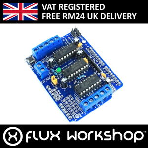 L293d 4 Channel Motor Driver Shield For Arduino Uno Stepper Servo Flux Workshop