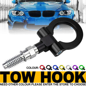 Black Track Racing Style Aluminum Tow Hook Ring Kit For Bmw 1 3 5 6 X5 X6 Mini
