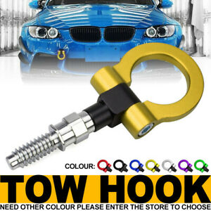 Yellow Track Racing Style Aluminum Tow Hook Ring Kit For Bmw 1 3 5 6 X5 X6 Mini