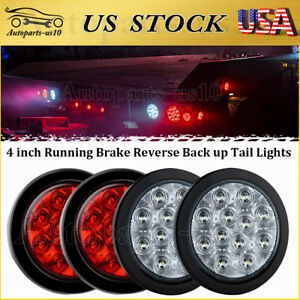 4 Pcs 4 Round Sealed Led Trailer Stop Brake Reverse Back Up Truck Tail Lights