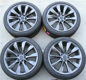 Set 4 Turbine Wheels Continetal Tires Package 18x8 5 5x114 3 Tesla Model 3