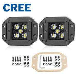 Flush Mount 5 50w Cree Led Pods Work Light Bar Spot Flood Driving Off Road 4wd