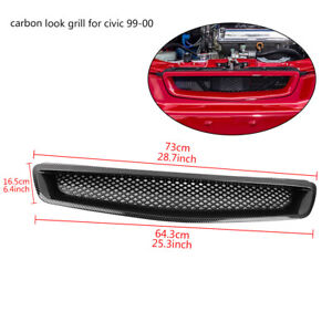 For 99 00 Honda Civic Ek Jdm Type R Carbon Style Mesh Front Hood Grille Grill
