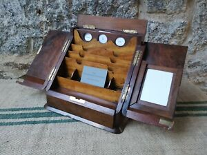 A Victorian Burr Walnut Stationery Box With A Perpetual Calender