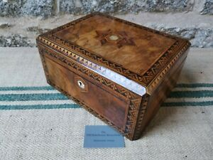 An Antique Walnut Banded Sewing Box