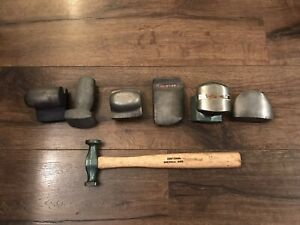 7 Vintage Auto Body Shop Hammer Dolly Tool Lot Craftsman Free Ship