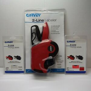 New Garvey 2 line Labeler 098411 1 Pack Each White And Red Labels Price Gun