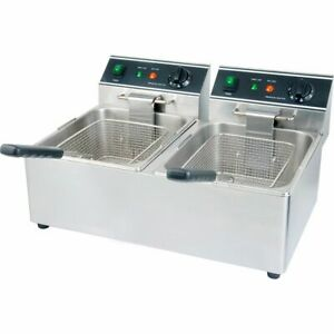Electric Double Pot 30 Lb Countertop Fryer