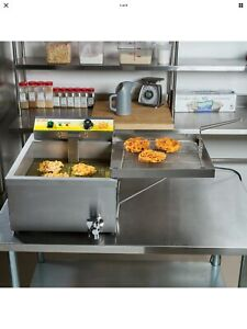 25 Lb Electric Countertop Stainless Steel Funnel Cake Deep Fryer 120v