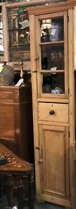 Antique Primitive Early English Pine Tall Glass Wooden Medicine Cabinet Vtg Old