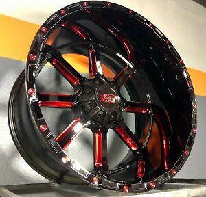 4 Xd 838 24x14 Wheel Black Candy Red Fits Chevy Ford Jeep Fuel American Force