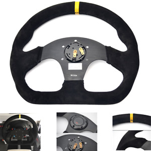 Universal 13inch Auto Racing Flat Suede Leather Drift Sport Steering Wheel