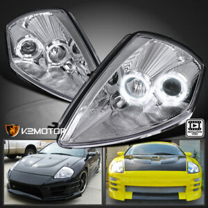 For 2000 2005 Mitsubishi Eclipse Clear Led Dual Halo Projector Headlights Lamps