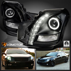 For 2003 2007 Cadillac Cts Smd Led Strip Black Halo Projector Headlights L r