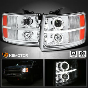 For 2007 2013 Chevy Silverado 1500 2500hd Led Strip Halo Projector Headlights
