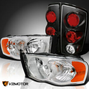 For 2002 2005 Dodge Ram 1500 Pickup Clear Headlights Black Tail Brake Lamps