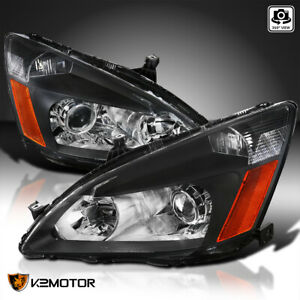 Black For 2003 2007 Honda Accord Projector Headlights Head Lamps Left right Pair
