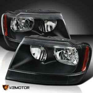 For 1999 2004 Jeep Grand Cherokee Black Headlights Lamps Left Right 2pc 99 00 01