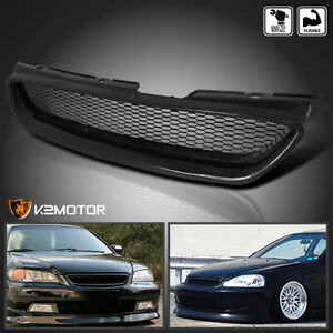 For 1998 2002 Honda Accord 2dr Metal Mesh Front Bumper Hood Grille Abs Black 1pc
