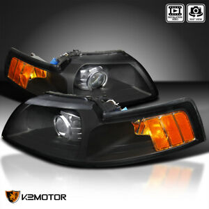 Fits 1999 2004 Ford Mustang Black Projector Headlights Lamps Left right 99 04