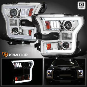 Fits 2015 2016 2017 Ford F150 Led Strip Bar Projector Headlights Lamp Left right