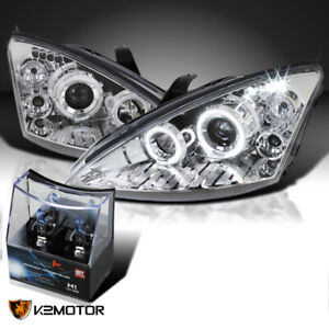 For 2000 2004 Ford Focus Clear Led Halo Projector Headlights H1 Halogen Bulbs