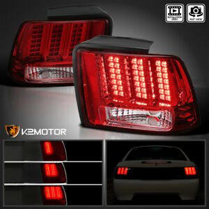 Fits 1999 2004 Ford Mustang Red Tail Lights Sequential Led Signal Brake Lamps
