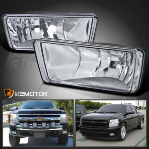 For 2007 2014 Chevy Silverado Tahoe Suburban Avalanche Clear Bumper Fog Lights