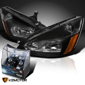For 2003 2007 Honda Accord 2 4dr jdm Black Headlights 2x Halogen Light Bulbs