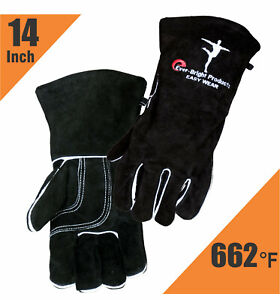 Black Welding Gloves Extreme Heat Resistant Mig Split Cow Leather Camping bbq