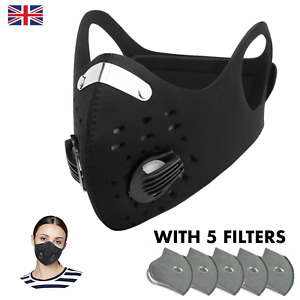 Anti Dust Reusable Protection For Biking Sport With Filters Washable Black
