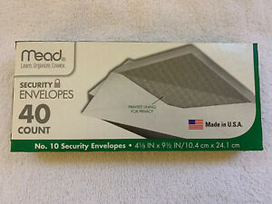 Mead 10 Security Envelopes 40 Count