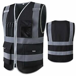Safety Vest Reflective With Pockets Zipper Construction High Visibility Black
