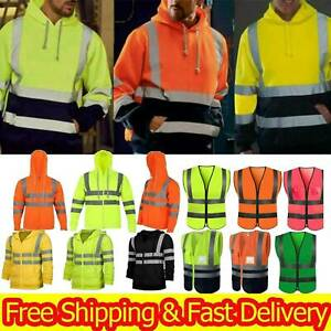 Men High Visibility Safety Hoodie Coat Tops Vest Jacket Reflective Tape Outwear