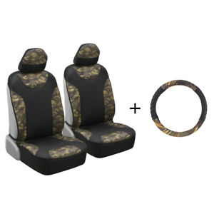 Camouflage 2pc Seat Cover Steering Wheel Cover Combo Set Military Jungle Green