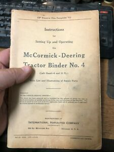 Vintage Booklet Mccormick Deering Tractor Binder No 4 Instructions Setting Up Rw