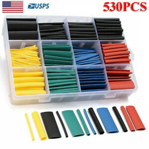 530 Pcs Heat Shrink Tubing Tube Assortment Sleeving Wrap Wire Cable 8 Size 2 1
