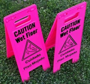 lot Of 2 Caution Wet Floor Sign Safety Display Business Store Slippery Pink