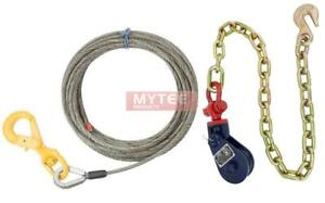 2 Ton Snatch Block W Chain Anchor Wire Rope Steel Core Winch Cable 3 8 X 50