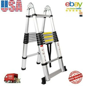16 step Dual Joints Aluminum Stretchable Ladder For Building Renovation Scaffold