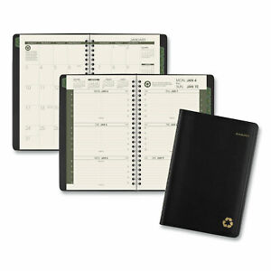 At a glance Recycled Weekly monthly Appointment Book 8 5 X 5 5 Black 2021