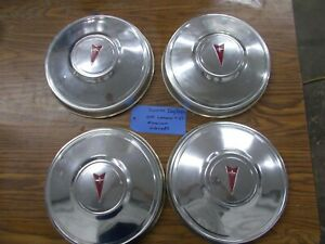 Pontiac Set Of 4 Dog Dish Poverty Hub Caps Aluminum Red Logo Gto Lemans T 37